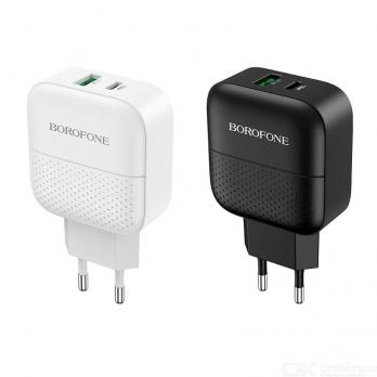 Сетевая зарядка Borofone BA46A 18W USB/Type-C QC 3.0/PD ,Black